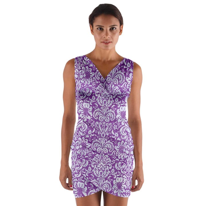 DAMASK2 WHITE MARBLE & PURPLE DENIM Wrap Front Bodycon Dress