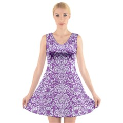 Damask2 White Marble & Purple Denim V Neck Sleeveless Dress