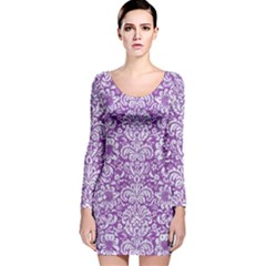 Damask2 White Marble & Purple Denim Long Sleeve Velvet Bodycon Dress