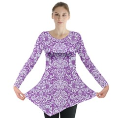 Damask2 White Marble & Purple Denim Long Sleeve Tunic