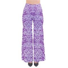Damask2 White Marble & Purple Denim So Vintage Palazzo Pants