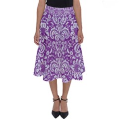 Damask2 White Marble & Purple Denim Perfect Length Midi Skirt