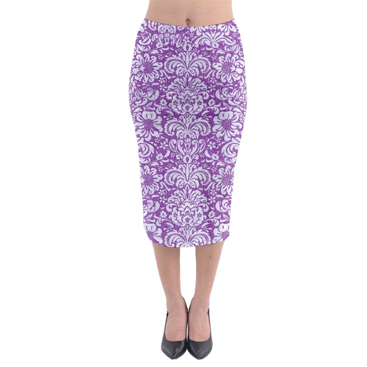 DAMASK2 WHITE MARBLE & PURPLE DENIM Midi Pencil Skirt