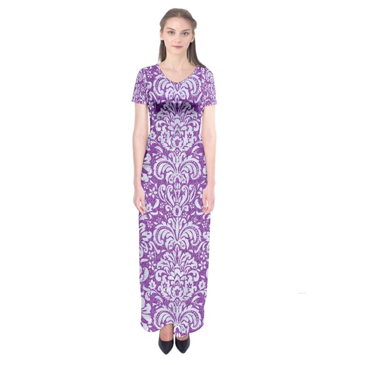 DAMASK2 WHITE MARBLE & PURPLE DENIM Short Sleeve Maxi Dress