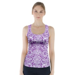 Damask2 White Marble & Purple Denim Racer Back Sports Top