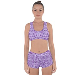 Damask2 White Marble & Purple Denim Racerback Boyleg Bikini Set