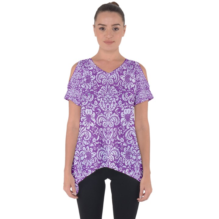 DAMASK2 WHITE MARBLE & PURPLE DENIM Cut Out Side Drop Tee