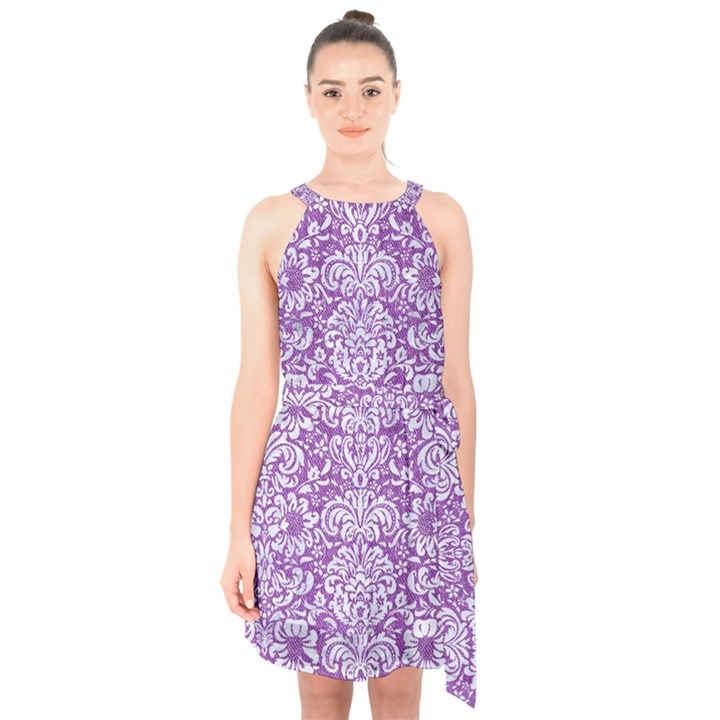 DAMASK2 WHITE MARBLE & PURPLE DENIM Halter Collar Waist Tie Chiffon Dress