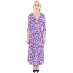 DAMASK2 WHITE MARBLE & PURPLE DENIM Quarter Sleeve Wrap Maxi Dress
