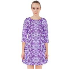 Damask2 White Marble & Purple Denim Smock Dress