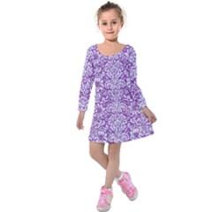 DAMASK2 WHITE MARBLE & PURPLE DENIM Kids  Long Sleeve Velvet Dress