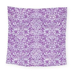 Damask2 White Marble & Purple Denim Square Tapestry (large) by trendistuff