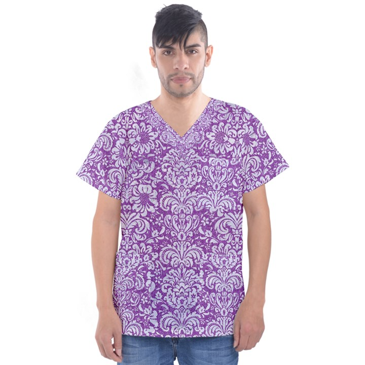 DAMASK2 WHITE MARBLE & PURPLE DENIM Men s V-Neck Scrub Top