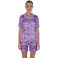 Damask2 White Marble & Purple Denim Satin Short Sleeve Pyjamas Set