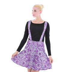 Damask2 White Marble & Purple Denim Suspender Skater Skirt