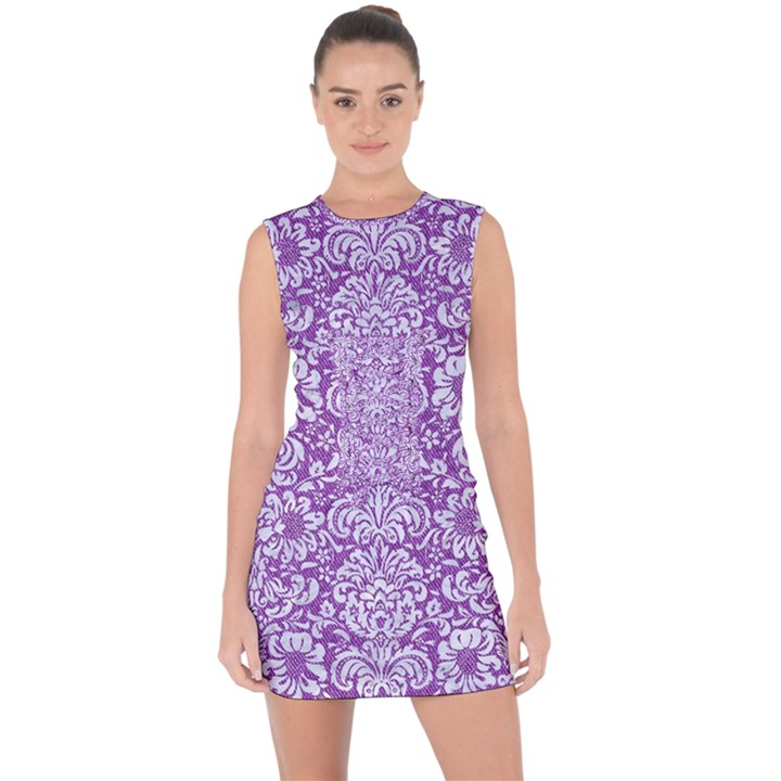 DAMASK2 WHITE MARBLE & PURPLE DENIM Lace Up Front Bodycon Dress