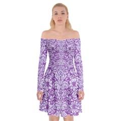 Damask2 White Marble & Purple Denim Off Shoulder Skater Dress by trendistuff