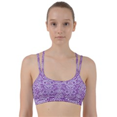 Damask2 White Marble & Purple Denim Line Them Up Sports Bra