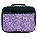 DAMASK2 WHITE MARBLE & PURPLE DENIM Lunch Bag View1