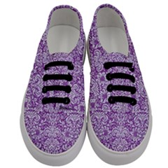 Damask2 White Marble & Purple Denim Men s Classic Low Top Sneakers