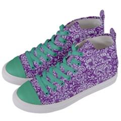 DAMASK2 WHITE MARBLE & PURPLE DENIM Women s Mid-Top Canvas Sneakers