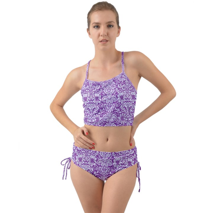 DAMASK2 WHITE MARBLE & PURPLE DENIM Mini Tank Bikini Set