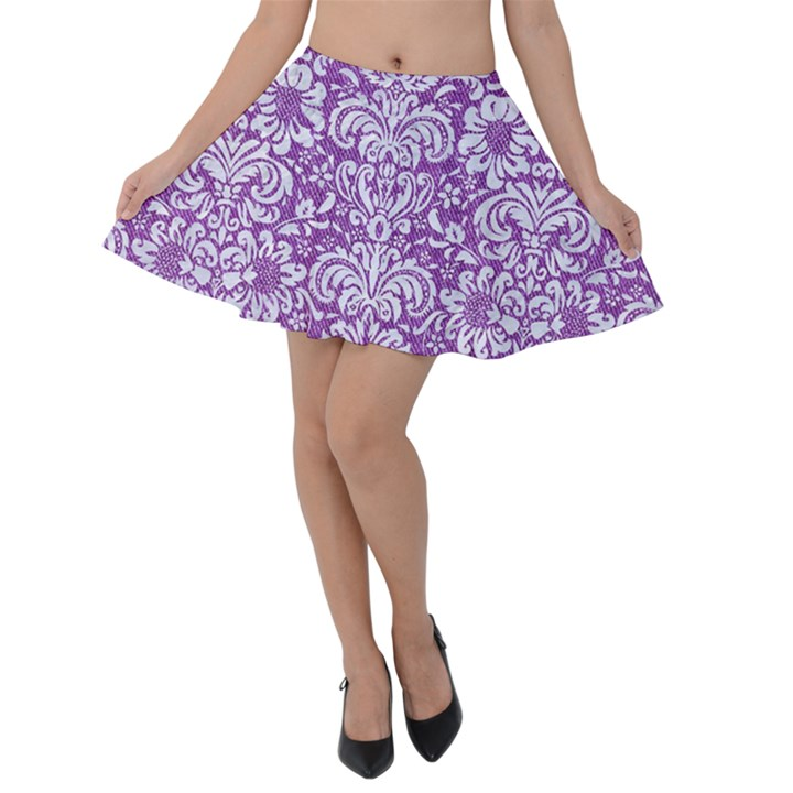 DAMASK2 WHITE MARBLE & PURPLE DENIM Velvet Skater Skirt