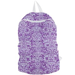 Damask2 White Marble & Purple Denim Foldable Lightweight Backpack
