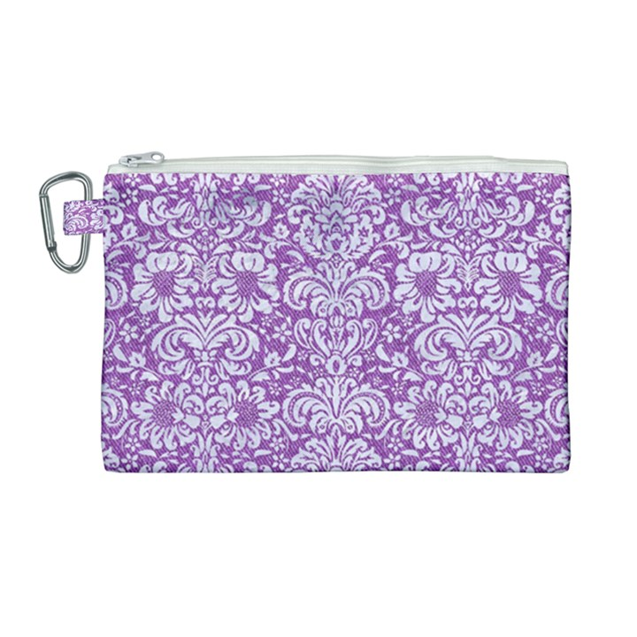 DAMASK2 WHITE MARBLE & PURPLE DENIM Canvas Cosmetic Bag (Large)