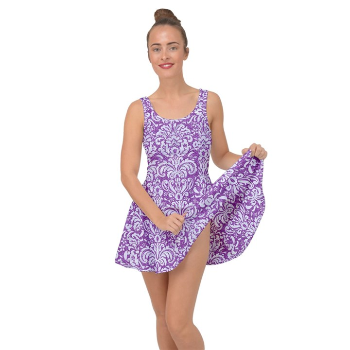 DAMASK2 WHITE MARBLE & PURPLE DENIM Inside Out Dress