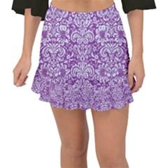 DAMASK2 WHITE MARBLE & PURPLE DENIM Fishtail Mini Chiffon Skirt