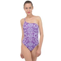 Damask2 White Marble & Purple Denim Classic One Shoulder Swimsuit