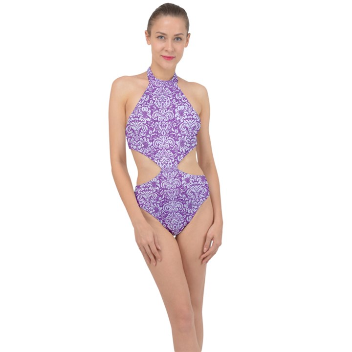 DAMASK2 WHITE MARBLE & PURPLE DENIM Halter Side Cut Swimsuit