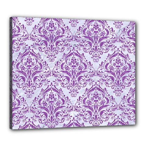Damask1 White Marble & Purple Denim (r) Canvas 24  X 20