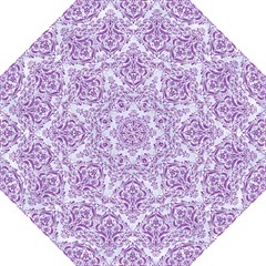 Damask1 White Marble & Purple Denim (r) Folding Umbrellas