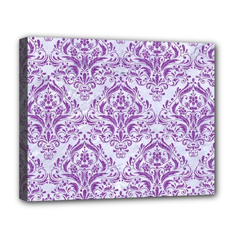 Damask1 White Marble & Purple Denim (r) Deluxe Canvas 20  X 16   by trendistuff