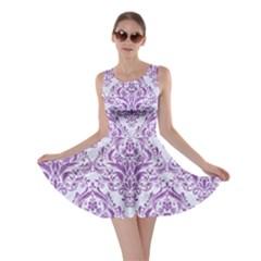 Damask1 White Marble & Purple Denim (r) Skater Dress