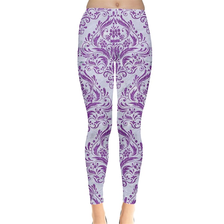 DAMASK1 WHITE MARBLE & PURPLE DENIM (R) Leggings