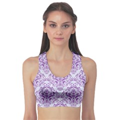 Damask1 White Marble & Purple Denim (r) Sports Bra