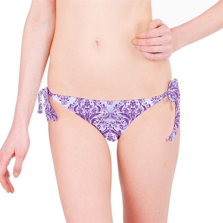 DAMASK1 WHITE MARBLE & PURPLE DENIM (R) Bikini Bottom