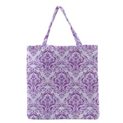 Damask1 White Marble & Purple Denim (r) Grocery Tote Bag