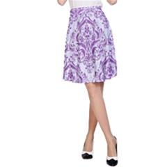 DAMASK1 WHITE MARBLE & PURPLE DENIM (R) A-Line Skirt