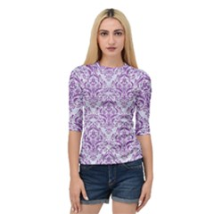 Damask1 White Marble & Purple Denim (r) Quarter Sleeve Raglan Tee by trendistuff