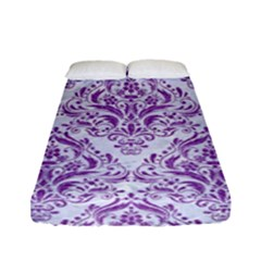Damask1 White Marble & Purple Denim (r) Fitted Sheet (full/ Double Size)