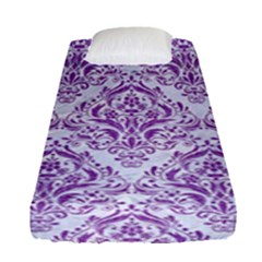 Damask1 White Marble & Purple Denim (r) Fitted Sheet (single Size)
