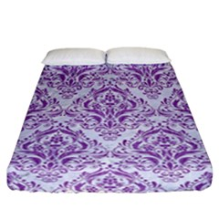 Damask1 White Marble & Purple Denim (r) Fitted Sheet (california King Size)