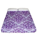 DAMASK1 WHITE MARBLE & PURPLE DENIM (R) Fitted Sheet (California King Size) View1