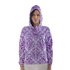 Damask1 White Marble & Purple Denim (r) Hooded Wind Breaker (women)