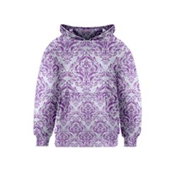 Damask1 White Marble & Purple Denim (r) Kids  Pullover Hoodie