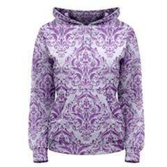 Damask1 White Marble & Purple Denim (r) Women s Pullover Hoodie
